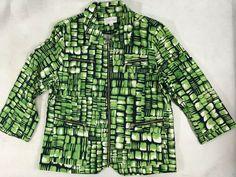Erin London Jacket L Green Lightweight Zip Softside Tortoise Geometric Design #ErinLondon #Field #CasualTravelWeekend Trench Coat Men, Sequin Tank Tops, Jackets For Women, Clothes For Women, Ladies Of London, Collar Styles, Jacket Buttons, Sleepwear Women, Gap Jeans