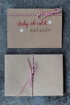 I adore simple but beautiful Christmas cards like this. A ribbon around the envelope is great for when you don't know neighbours names! Christmas Crafts To Make, Handmade Christmas Decorations, Homemade Christmas Gifts, All Things Christmas, Christmas Ideas, Xmas Cards, Holiday Cards, Beautiful Christmas Cards, Card Making Inspiration