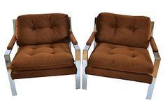 Milo Baughman knock offs? Chrome Flat-Bar Lounge Chairs, Pair