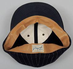 BASEBALL CAP, STRIPED NAVY WOOL :: HICKOREE'S