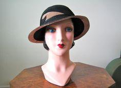1920s Cloche hat / wonderful intricate straw by TopTottieVintage, £55.00