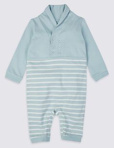 Never mind the baby, I want this. So cute!! M&S have some lovely nautical items Striped Pure Cotton All-in-One