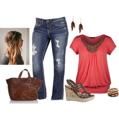 """""""plus size"""" by bkassinger on Polyvore don't love the jeans but the top is super cute."""