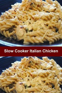 Slow Cooker Italian Chicken. A main dish recipe that you can cook in your Crock Pot. So easy. Just toss in the 4 ingredients in and ready in 4 hours.