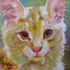 SELF-ASSURED small original cat oil painting by Jean Delaney size 6 x 6 inch on gessobord