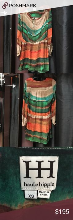 Haute Hippie 100% silk boho tunic dress Haute Hippie 100% silk, boho, multi colored, tunic dress with cinch ties across shoulders, elastic drop waist, cute little side slits. Never worn but lost the sash belt. Gorgeous dress! Haute Hippie Dresses
