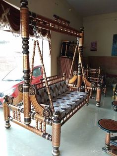 Sankheda Furniture from Gujarat Traditional Living Room Furniture, Porch Swing, Outdoor Furniture, Outdoor Decor, Home Decor, Homemade Home Decor, Decoration Home, Yard Furniture, Interior Decorating