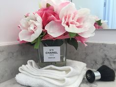 Ready Made Chanel Perfumes Inspired Floral Arrangement Pink Roses Faux Illusion Water Small Glass Flower Fashion Vase by KarinaPollLtd on Etsy