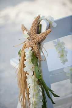 Summer Beach Wedding Decor - Summer, Beach, Decor, Starfish, Chair, Flower