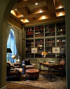 Love the ceiling in this reading room. Would want the walls red and the bookshelves a dark cherry instead.
