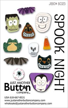 Spooky Night Button Card by Just Another Button Company