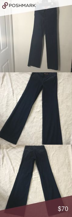 💞OBO💞 Tory Burch Stretch Denim Trouser Jeans EUC: Dark-rinse stretch denim shapes chic wide-leg jeans styled with crisp creasing and topstitched hems. Tory Burch Pants