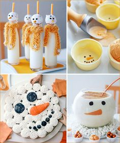 """These fun snowmen-themed treats from BHG make me happy just looking at them…did you ever think a glass of milk could be even remotely this cute?! (top left image)    Pictured above, clockwise from top left: """"Look at Frosty Go"""" milk glasses (yes – those are powdered donut hole heads!), """"Before I Melt Away"""" white chocolate ice cream cups, """"Frosty"""" eggnog, and """"Snowman Face"""" cupcakes."""