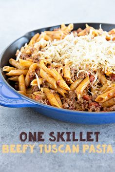 Inspired by some ingredients found in my fridge and pantry, I came up with this One Skillet Beefy Tuscan Pasta Recipe, a perfect easy weeknight meal. from @dineanddish