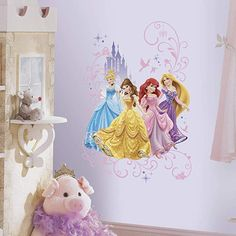 Shop for Roommates Disney Princess Wall Graphix Peel and Stick Giant Wall Decal. Get free delivery On EVERYTHING* Overstock - Your Online Nursery Decor Shop! Disney Princess Bedroom, Disney Princess Castle, Disney Bedrooms, Disney Princess Belle, Princess Room, Princess Bedrooms, Disney Princess Decals, Princess Party, Chateau Princesse Disney