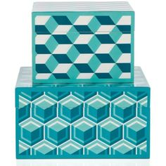 Geo Cube Box - Aquamarine (9.62 CAD) ❤ liked on Polyvore featuring home, home decor, small item storage, wood home decor, aqua home accessories, lidded box, wood box and aqua home decor