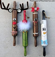 Christmas Rolling Pins - The Keeper of the Cheerios-These whimsical Christmas Rolling Pins are so fu Whimsical Christmas, Diy Christmas Ornaments, Rustic Christmas, Christmas Holidays, Christmas Decorations, Christmas Signs, Ornament Crafts, Christmas Projects, Holiday Crafts