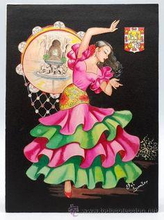 Dibujo original para postal Granada Elsi Gumier traje regional años 50