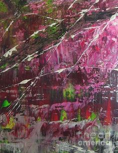 'Tickled Pink' Fine Art Acrylic Painting by Lucy Matta (Lulu)  Beautifully textured pink waterfall abstract by Lucy.