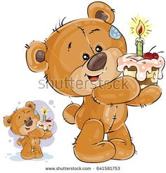 Vector illustration of a brown teddy bear holding a cake with a candle in its paws. Print, template, design element for greeting cards and invitations to a party
