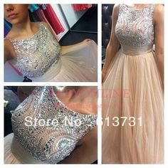 Elegant Sleeveless Crystal Beaded Top Formal Evening Dresses 2014 New Arrival Champagne Tulle Prom Dresses Long BO3422 $159.00