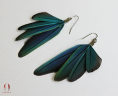 Little blue feather earrings Small feathers by FeatherObsession, $28.00