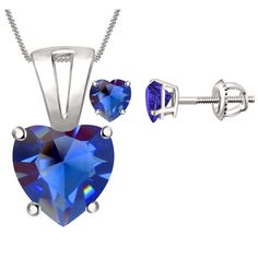 Sapphire Solitaire Heart Pendant & Earrings Set 4 Prong In 14K White Gold Over #Diamondetc #Solitaire #ValentinesDay