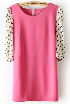 Red Polka Dot Half Sleeve Back Zipper Chiffon Dress US$23.23