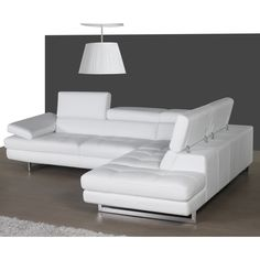 Shop for Italian Leather Sectional White In Right Hand Facing Chaise. Get free delivery On EVERYTHING* Overstock - Your Online Furniture Shop! Leather Reclining Sectional, Grey Sectional Sofa, Large Sectional, Modular Sectional Sofa, Modern Sectional, Couch, Leather Recliner, Modern Sofa, Sofa Furniture