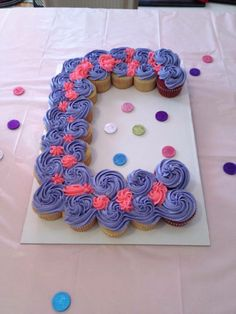 """Letter """"C"""" cupcake cake (For Cami's 4th Birthday) 4.20.14"""