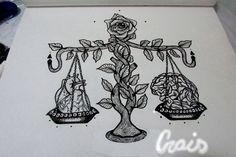 #equilibrio #balança #balance #tattoo #razao #emoçao #cerebro #coraçao #rosa #draw #desenho #tatuagem #paulinecrais