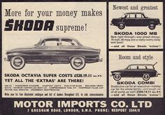 """""""The latest Skodas - 1965 advertisement. Vintage Ads, Vintage Posters, Used Car Lots, Seat Cupra, Vw Group, Old Signs, Old Pictures, Sport Cars, Old Cars"""
