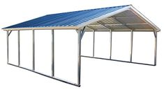 The vertical style metal carport. The steel carports are delivered and installed on your level land in 27 states. Metal Pergola, Cheap Pergola, Wooden Pergola, Diy Pergola, Pergola Kits, Metal Roof, Pergola Carport, Pergola Ideas, Pergola Shade