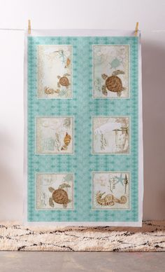 This is a one yard panel that contains 4 square pillow designs and 2 rectangular designs. DIY home decor, simply add your own pillow forms and backside fabric to complete.  Original watercolor artwork by Audrey Jeanne with beach, coastal, nautical or seashore resort spa & retreat theme.  $39.90 per panel  #beach #cottage #art #seaturtle #turtle #seahorse #egret #sea #seashore #coastal #theme #homedecor #decor