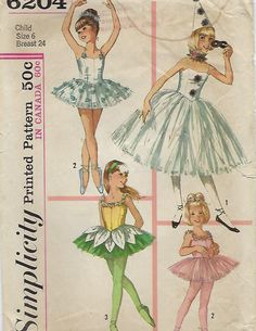 """Simplicity 6204  Child's And GIrls' Ballet Costume in two lengths withHat and Ruff  Size 6  Breast 24"""" by ThePatternShopp on Etsy"""