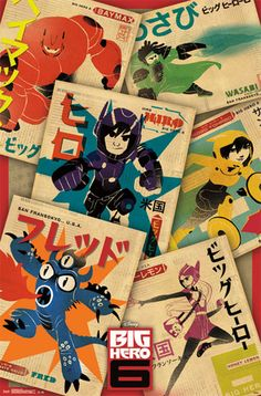 Digging this particular Big Hero 6 posters I found. Shows all 6 of the characters in a cool style.