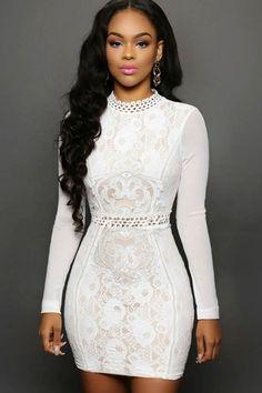 White Lace Mesh Sleeves Mini Dress Material  Spandex Size  M 942151d5bd39