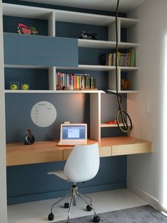 Decoration, Delightful Wall Unit Desk With Bookshelf And Laptop Also White Also Table And Armchair And Book Featuring Clock: The Suitable Desk Wall Unit