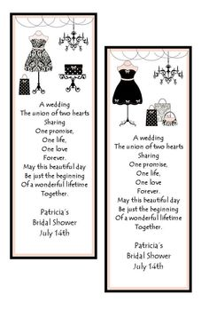 Personalized Bridal Shower Bookmarks, bridal shower favor, wedding favor on Etsy, $0.85