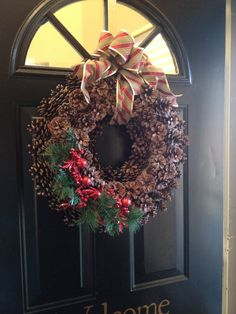 Updated pinecone wreath for Christmas