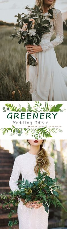 Greenery wedding bouquet flower ideas #weddings #greenwedding #weddingdetails #romanticplace #weddingblog #bouquets #green #weddingideas #weddingflowers #weddinginspiration #dpf #deerpearlflowers /