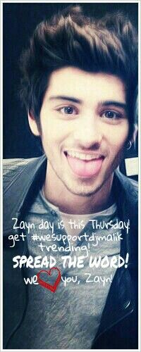 Spread the word! #wesupportdjmalik OMG I love this picture of Zayn. This is like my fav picture. He's so cute.