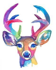 Colorful Doe and Buck Duo Pack Watercolor by FuzzyLlamas on Etsy