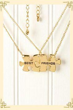 Best Friends Puzzle Piece Necklace Set - Francescas