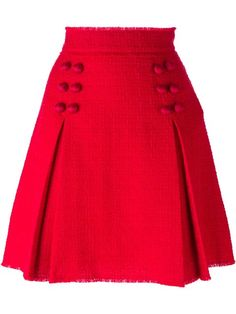 See this and similar Dolce&Gabbana mini skirts - Red silk blend and virgin wool blend front pleat button skirt from Dolce & Gabbana featuring a high waist, an a. Red Skirts, Cute Skirts, A Line Skirts, Short Skirts, Mini Skirts, Skirt Outfits, Dress Skirt, Pleated Skirt, Button Skirt