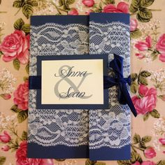 Lace wrapped wedding invitation suite