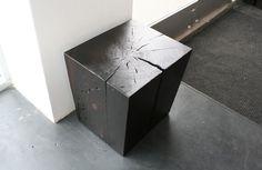 burnt black side table