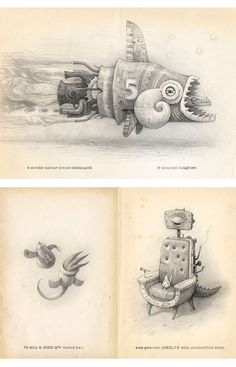 Shaun Tan • Four pages from 'What Miscellaneous Abnormality Is That?', 2010