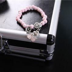 新款粉色水晶陶瓷树脂弹力串珠吊坠花手链女韩版森系时尚首饰品-淘宝网