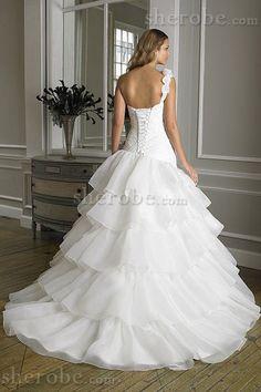 Robe de mariée romantique formelle avec sans manches en organza en chute